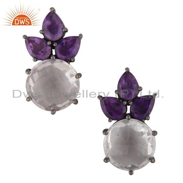 Oxidized Solid Sterling Silver Amethyst And Crystal Quartz Cluster Stud Earrings