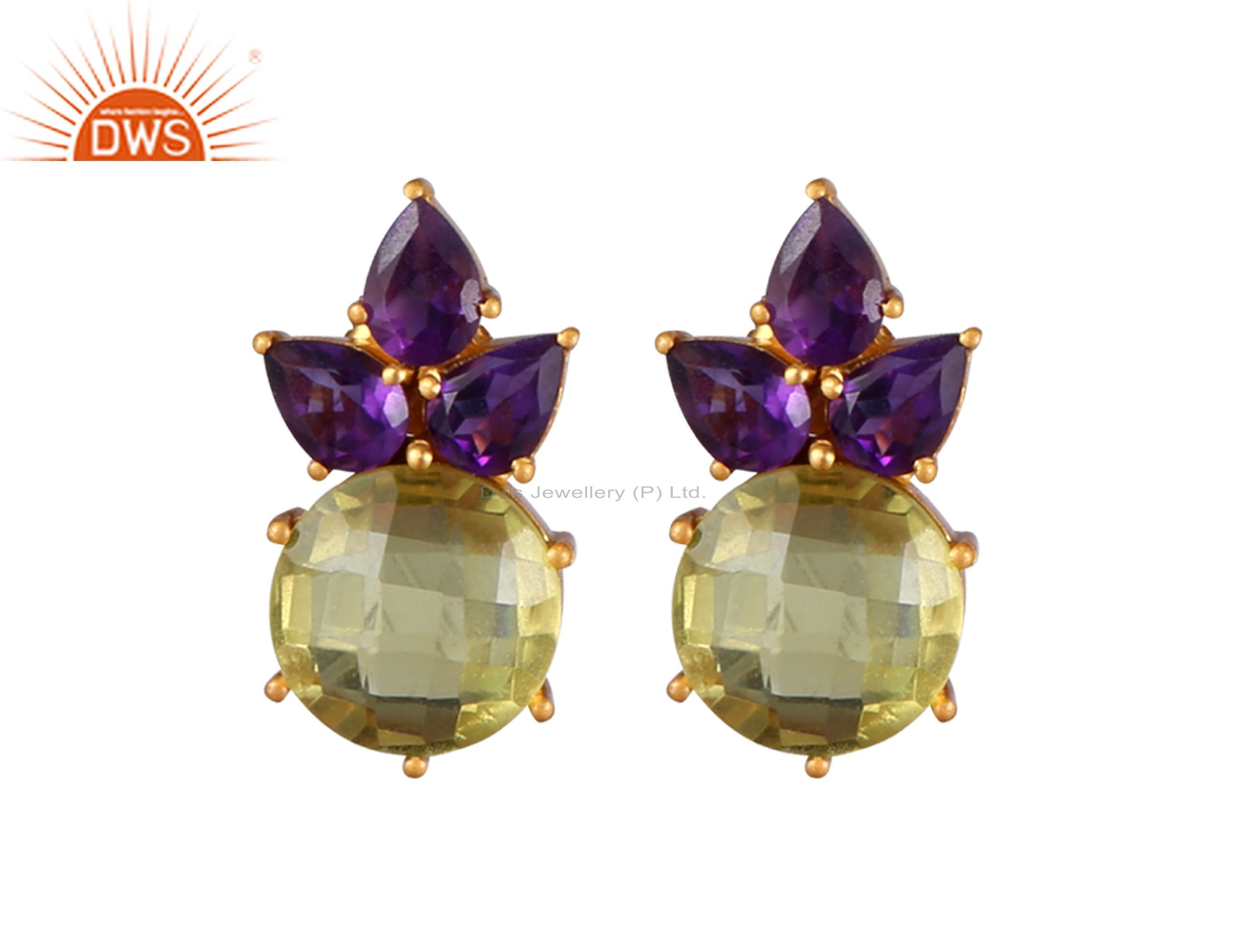 18K Yellow Gold Plated Sterling Silver Amethyst And Lemon Topaz Stud Earrings
