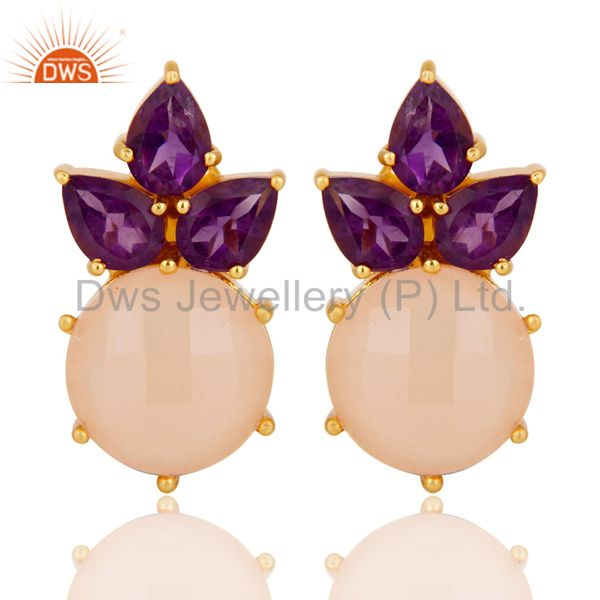 18K Yellow Gold Plated Sterling Silver Amethyst And Chalcedony Stud Earrings
