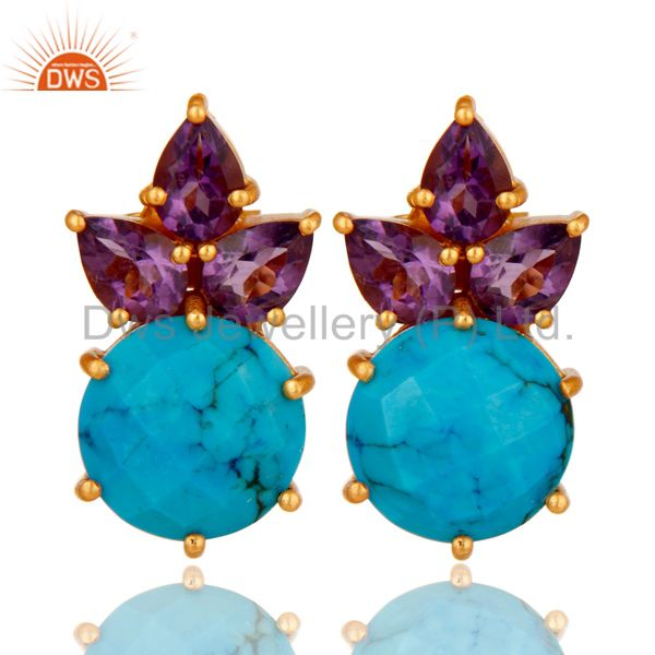 18K Gold Plated Sterling Silver Amethyst And Turquoise Prong Set Stud Earrings