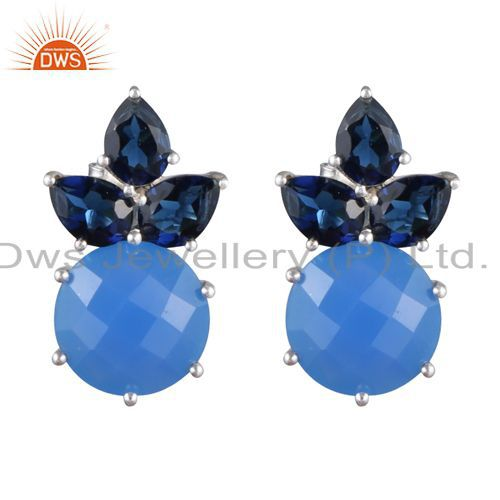 Blue Corundum And Blue Chalcedony Prong Set Sterling Silver Stud Earrings