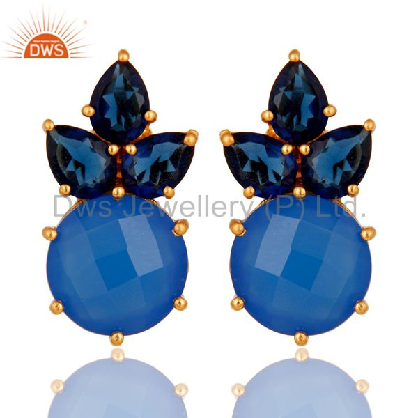 18K Yellow Gold Plated Sterling Silver Blue Chalcedony Corundum Stud Earrings