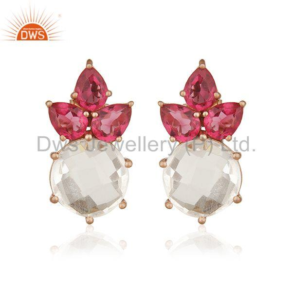Multi Gemstone 925 Sterling Silver Gold Plated Stud Earrings Manufacturer