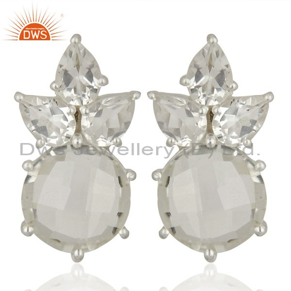 Crystal Quartz Gemstone Fine Silver Stud Earrings Jewelry Manufacturer