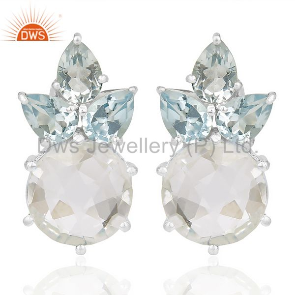 Natural Blue Topaz And Crystal Large Stud 92.5 Sterling Silver Earring