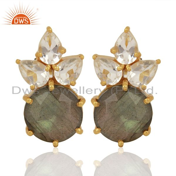 Labradorite Crystal Quartz Studs Gold Plated Sterling Silver Earrings Jewelry