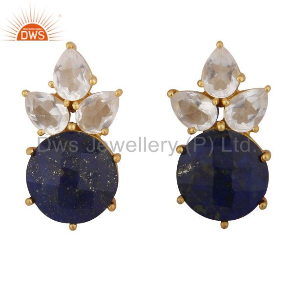 18K Gold Plated Sterling Silver Lapis Lazuli And Crystal Quartz Stud Earrings