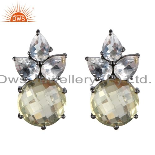 Oxidized Sterling Silver Crystal Quartz And Lemon Topaz Cluster Stud Earrings