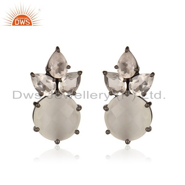 Oxidized Sterling Silver Crystal Quartz And Moonstone Post Stud Earrings