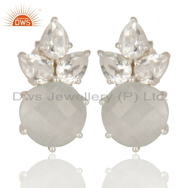 Solid Sterling Silver White Moonstone & Crystal Quartz Prong Set Studs Earrings