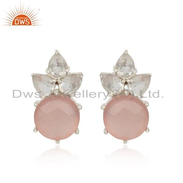 Floral Designer Silver Studs with Rose Chalcedony and Crystal