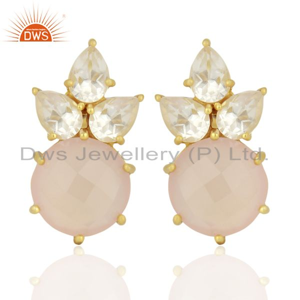 18K Gold Plated Sterling Silver Crystal Quartz And Chalcedony Post Stud Earrings