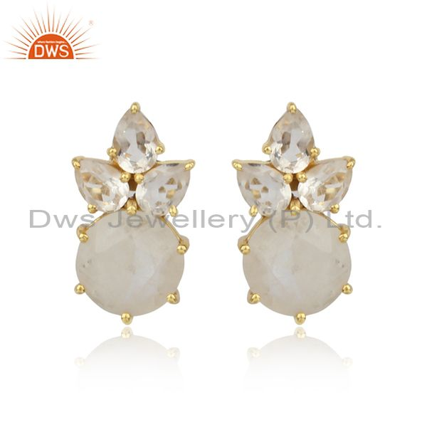 Floral gold plated silver studs with rainbow moonstone, crystal