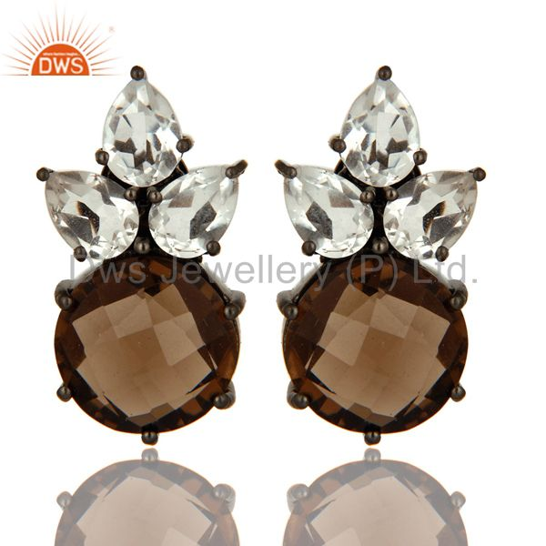 Rhodium Plated Sterling Silver Crystal Quartz And Smoky Quartz Post Stud Earring