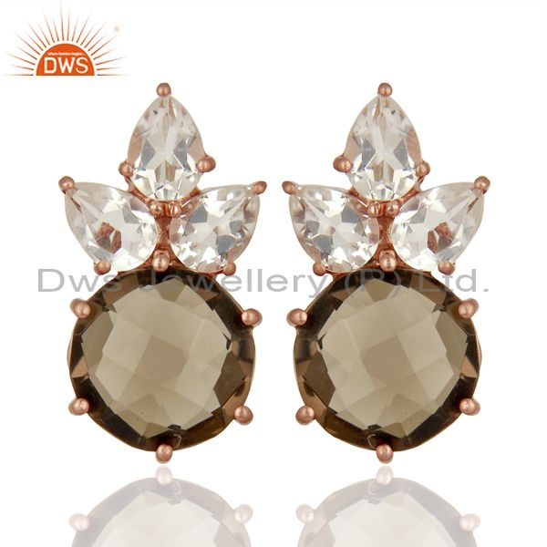18K Rose Gold Plated Sterling Silver Smoky Quartz And Crystal Quartz Earrings