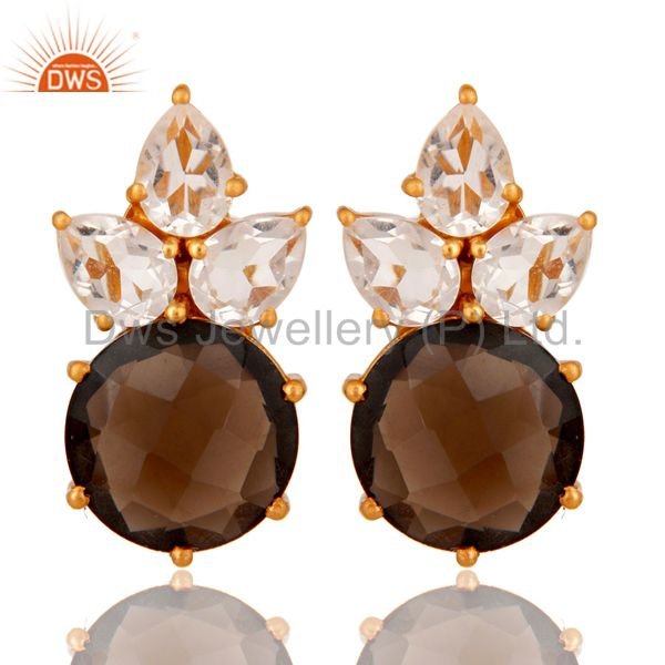 Gold Plated Sterling Silver Crystal Quartz And Smoky Quartz Post Stud Earring