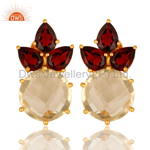18K Yellow Gold Plated Sterling Silver Lemon Topaz And Garnet Stud Earrings