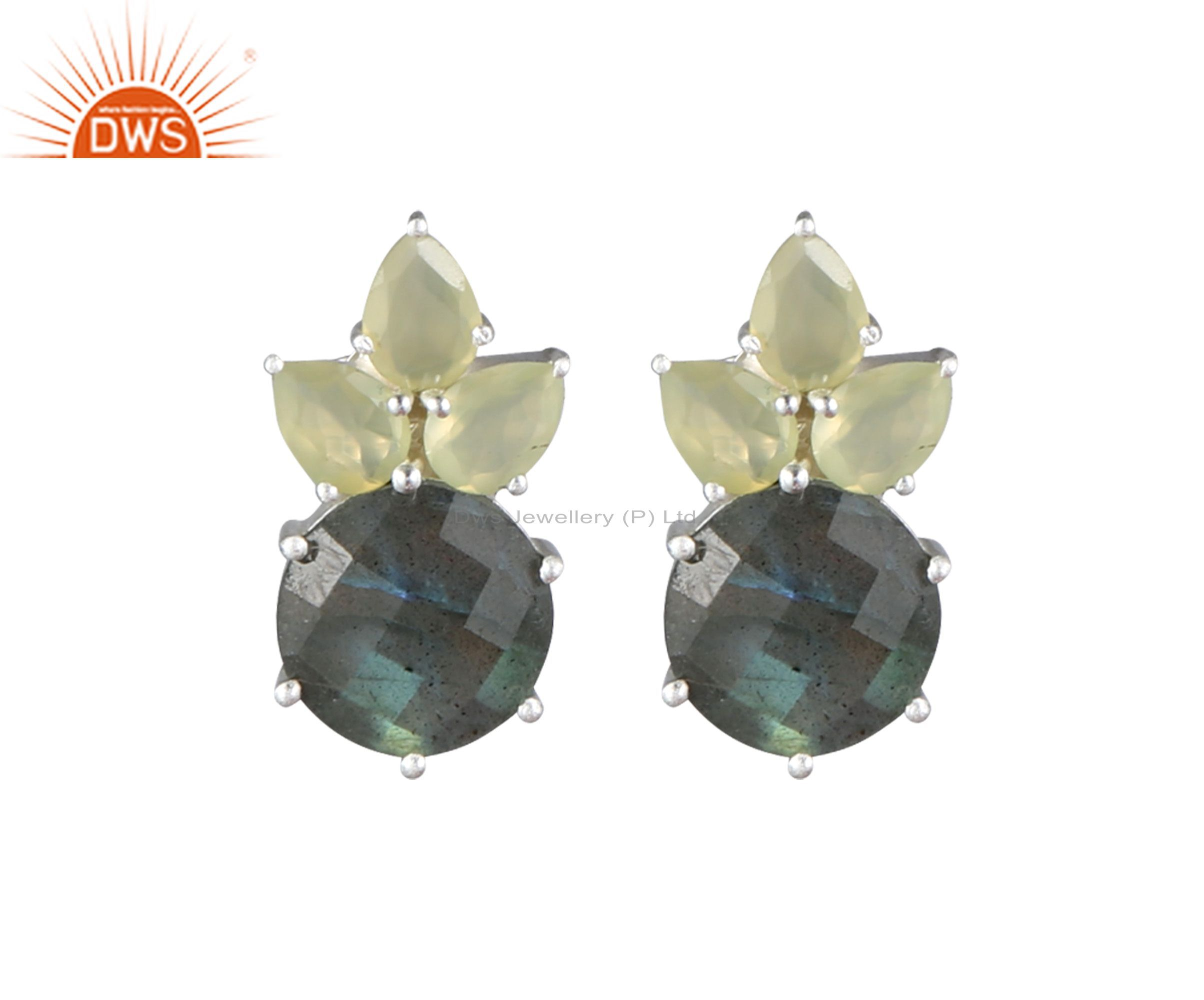 925 Sterling Silver Labradorite And Prehnite Cluster Post Stud Earrings