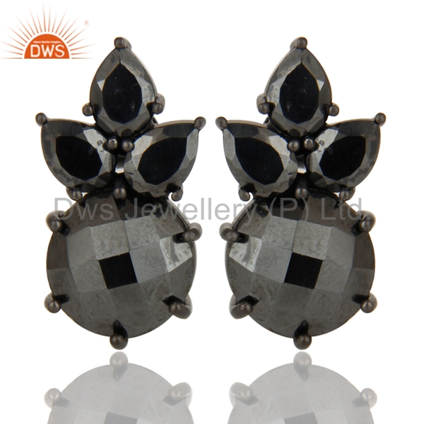 Black Oxidized 925 Sterling Silver Handmade Hematite Prong Set Studs Earrings
