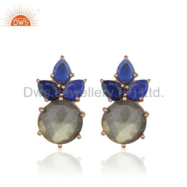 Labradorite Gemstone 925 Silver Rose Gold Plated Stud Earrings Manufacturer