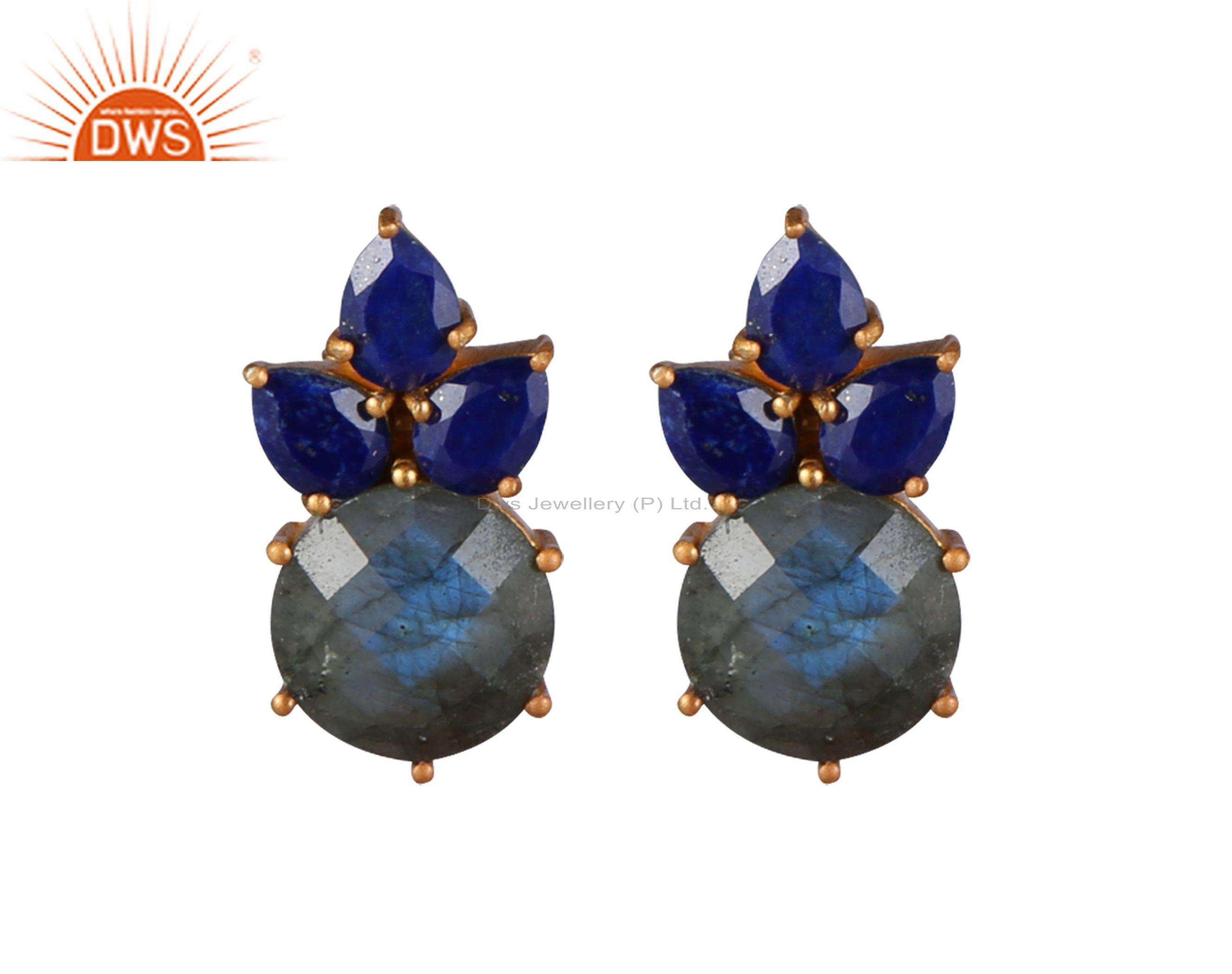 18K Yellow Gold Plated Sterling Silver Lapis Lazuli And Labradorite Stud Earring