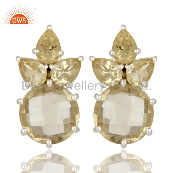 925 Sterling Silver Lemon Topaz Gemstone Prong Set Post Stud Earrings