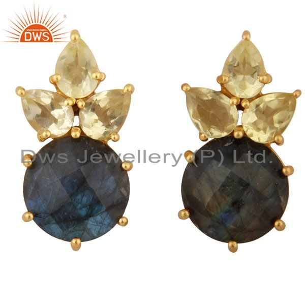 18K Yellow Gold Plated Sterling Silver Lemon Topaz And Labradorite Stud Earrings