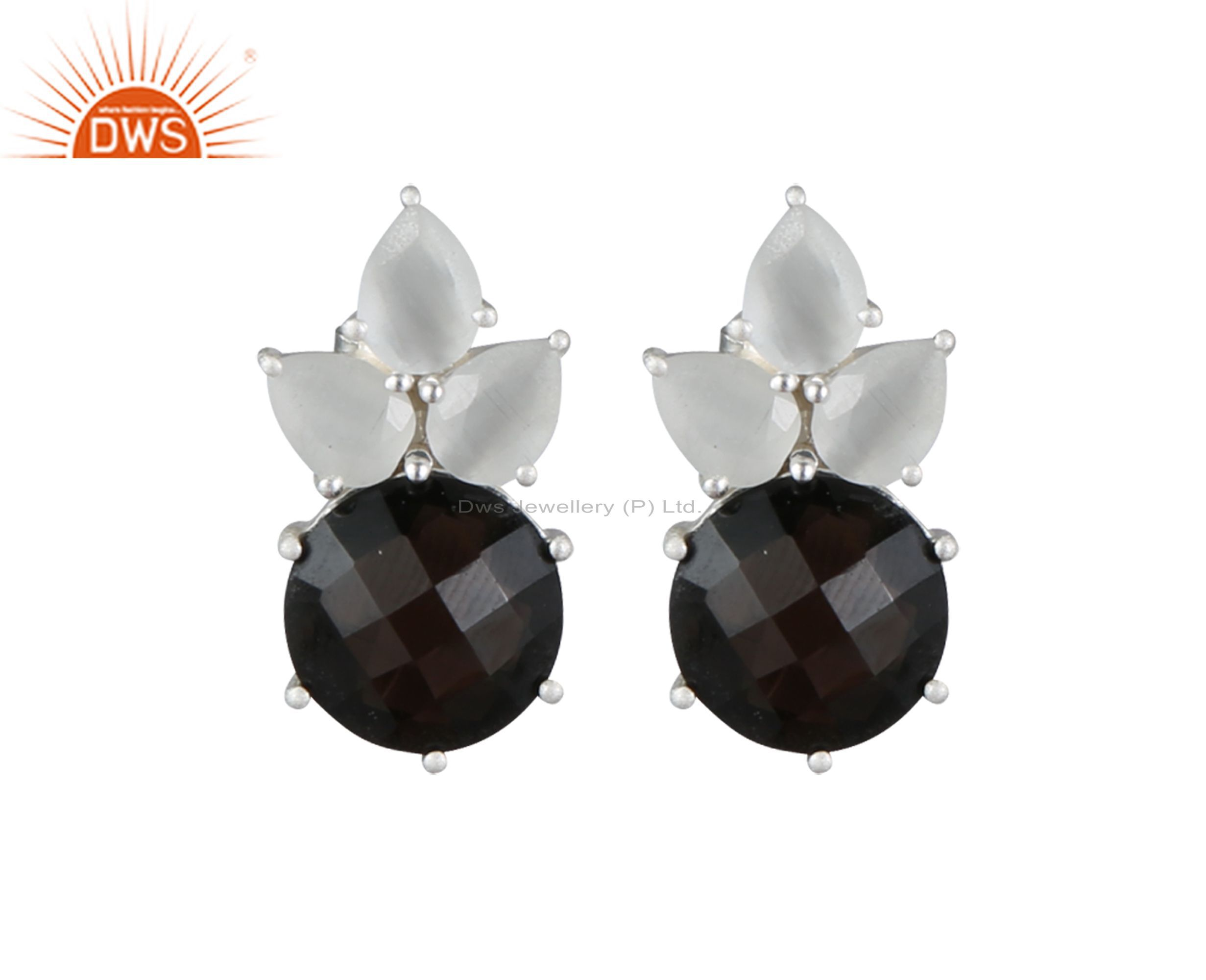 White Moonstone And Smoky Quartz Cluster Post Stud Earrings Made In Silver 925