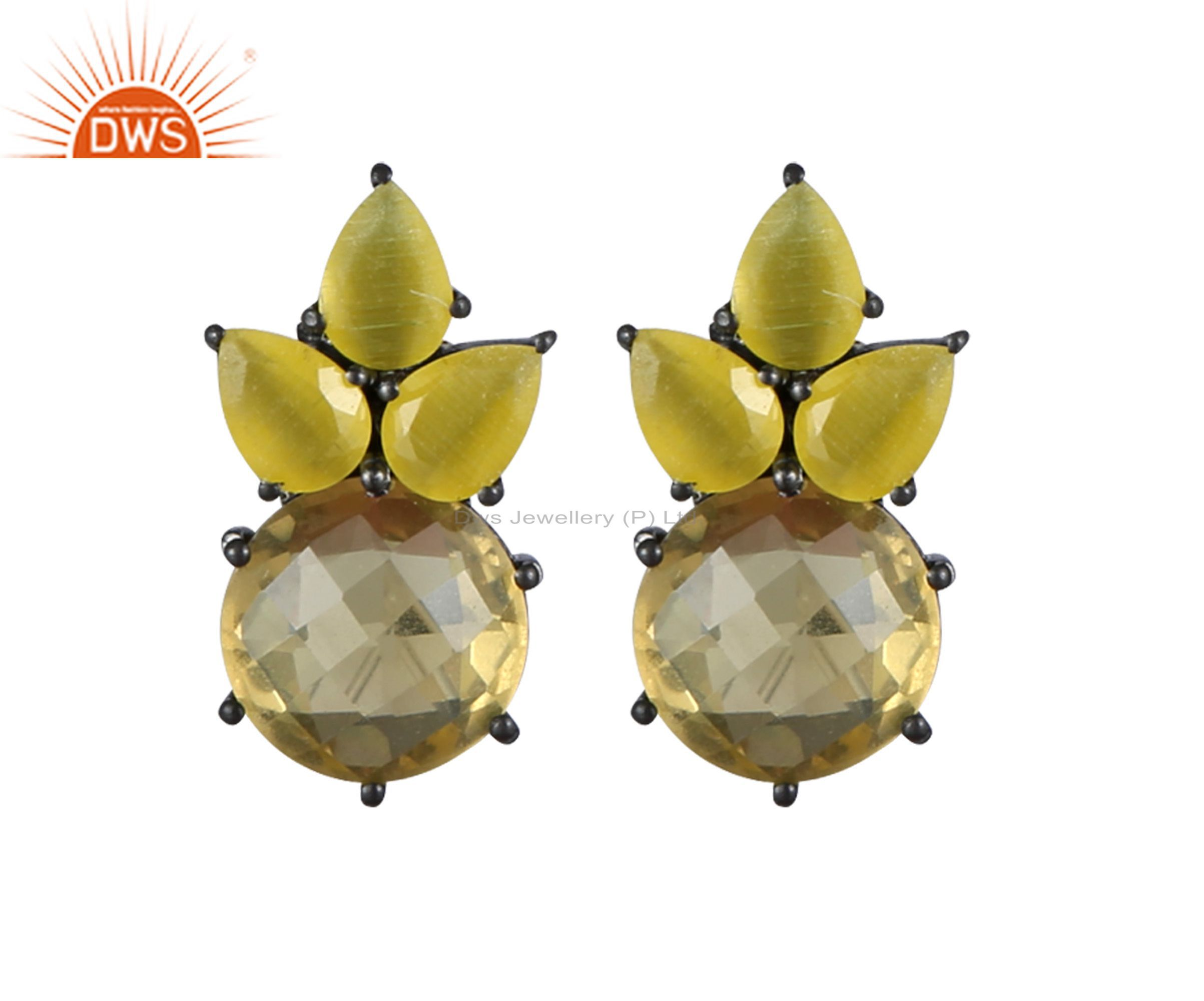 Oxidized Sterling Silver Lemon Topaz And Yellow Moonstone Cluster Stud Earrings