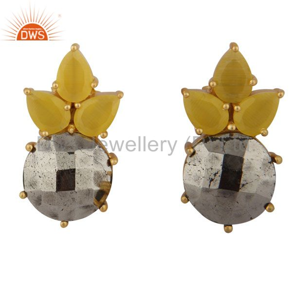 18K Gold Plated Sterling Silver Yellow Moonstone & Pyrite Gemstone Stud Earrings
