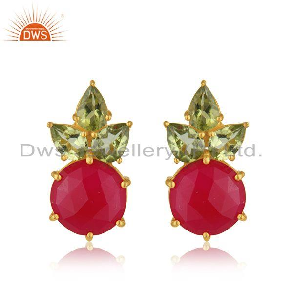 Peridot and Pink Chalcedony 925 Silver Stud Earrings Manufacturer INdia