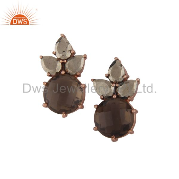 18K Rose Gold Plated Silver Smoky Quartz And Pyrite Cluster Post Stud Earrings