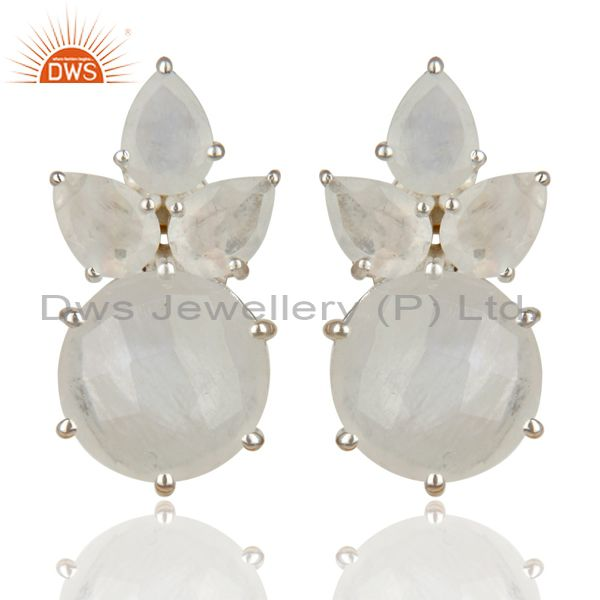 Handmade Solid 925 Sterling Silver Rainbow Moonstone Prong Set Studs Earrings