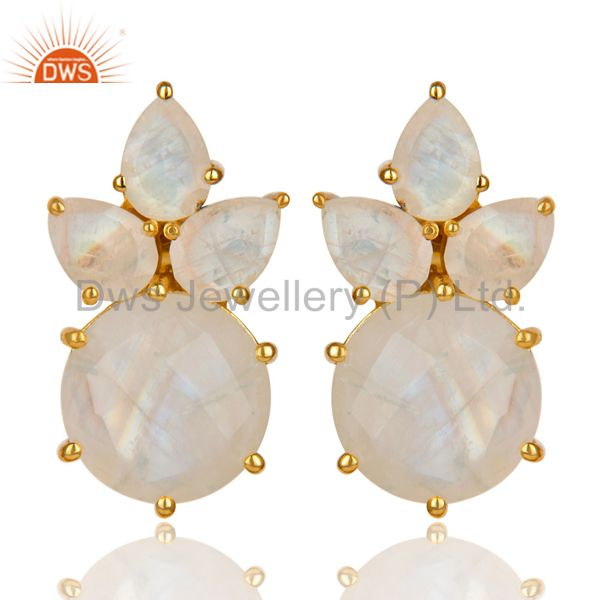 18K Gold Plated 925 Sterling Silver Rainbow Moonstone Prong Set Studs Earrings
