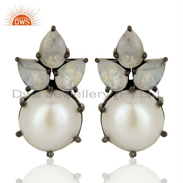 Flower Design Rhodium Plated 925 Silver Pearl Gemstone Stud Earrings