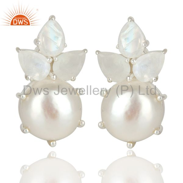 Handmade Solid 925 Sterling Silver Pearl & Moonstone Prong Set Studs Earrings
