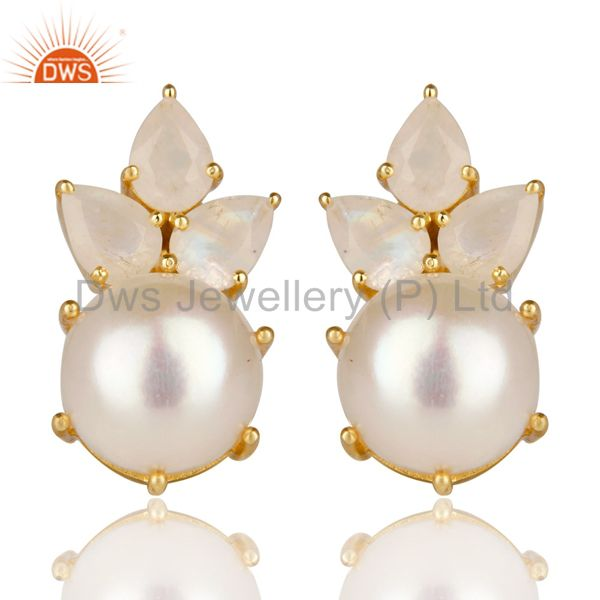 18K Gold Plated 925 Sterling Silver Pearl & Moonstone Prong Set Studs Earrings