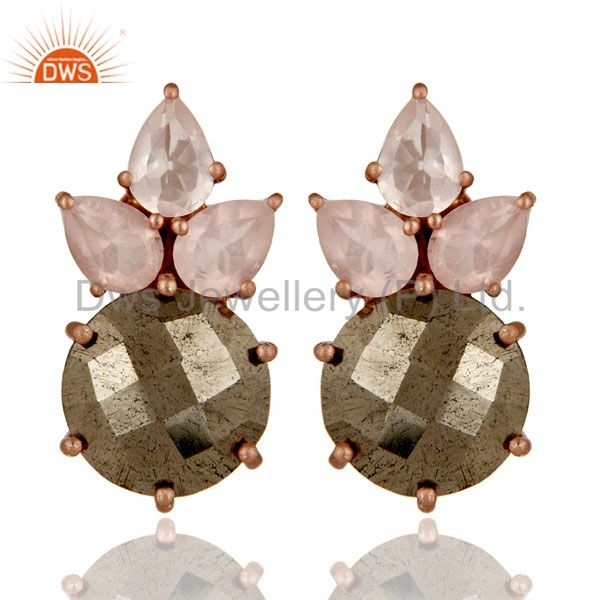 18K Rose Gold Plated Sterling Silver Pyrite And Rose Quartz Post Stud Earrings