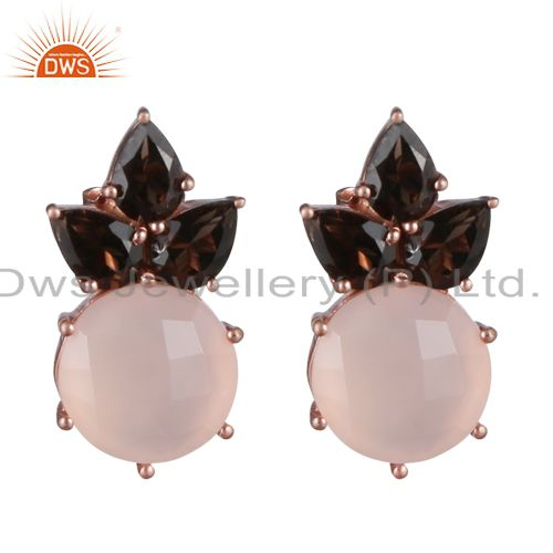 18K Rose Gold Over Sterling Silver Smoky Quartz And Chalcedony Stud Earrings