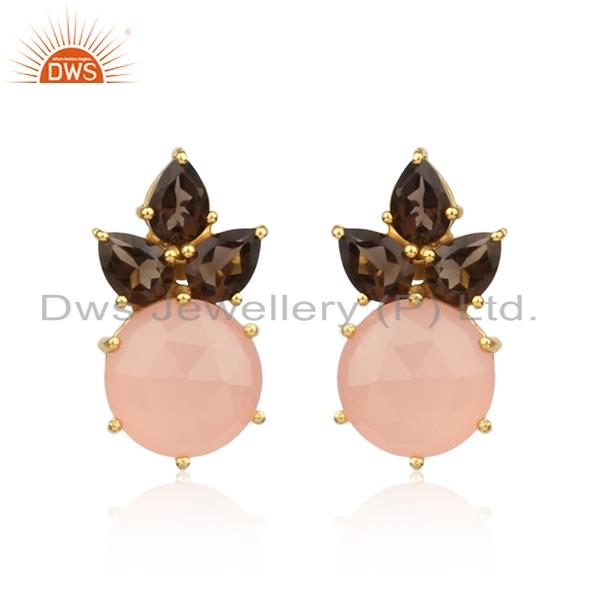 Floral Gold Plated Silver Earring with Rose Chalcedony and Smoky