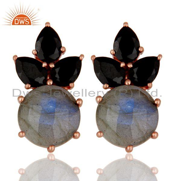 22K Rose Gold Plated Sterling Silver Black Onyx And Labradorite Stud Earrings