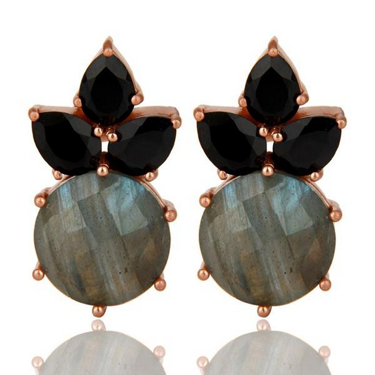 Black Onyx Labradorite Stud 14K Yellow Gold Plated Earrings Jewelry