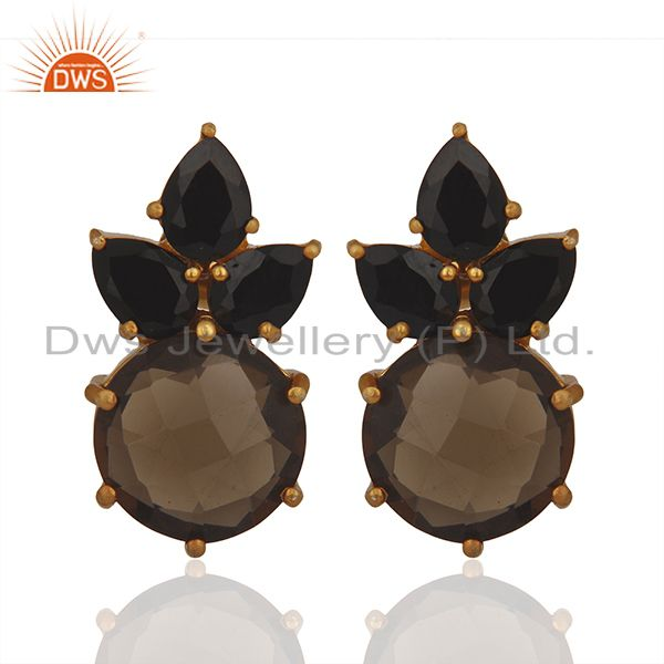 Smoky Quartz and Black Onyx Gemstone 925 Silver Stud Earring Wholesale