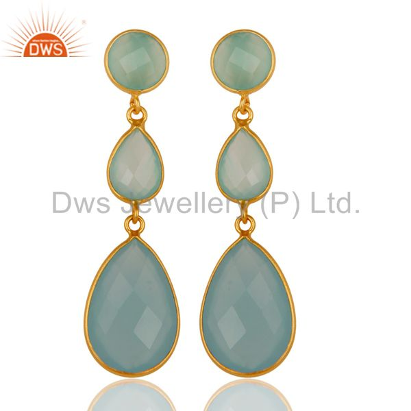 Faceted Aqua Chalcedony Triple Gemstone Bezel Set Silver Earrings - Gold Plated