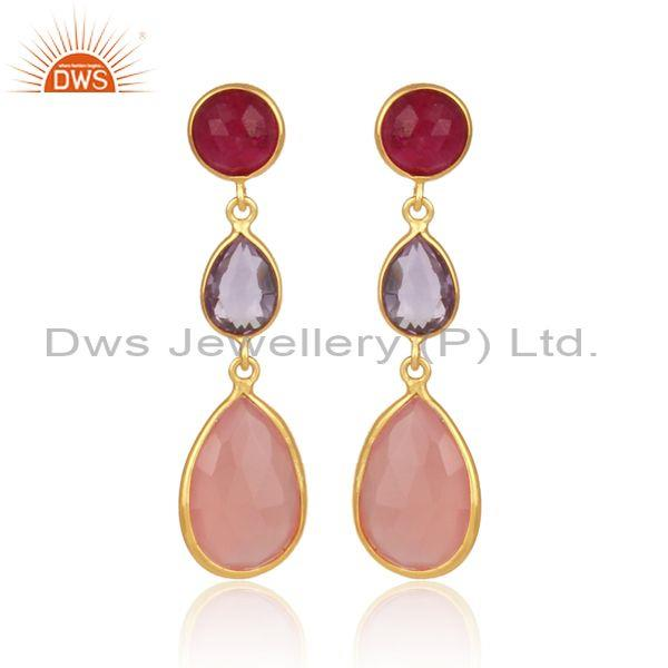 Multiple gemstones set gold on 925 silver long drop earrings