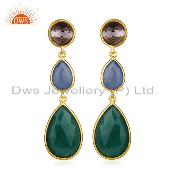 925 Silver Gold Plated Multi Gemstone Dangle Earrings Wholesale Supplier