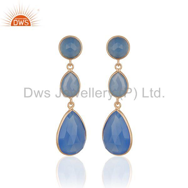 Blue Chalcedony Gemstone Rose Gold Plated 925 Silver Dangle Earrings Supplier