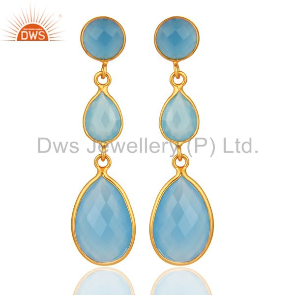 Blue Aqua Chalcedony Faceted Gemstone Dangle Earrings In 18K Gold Over Sterling