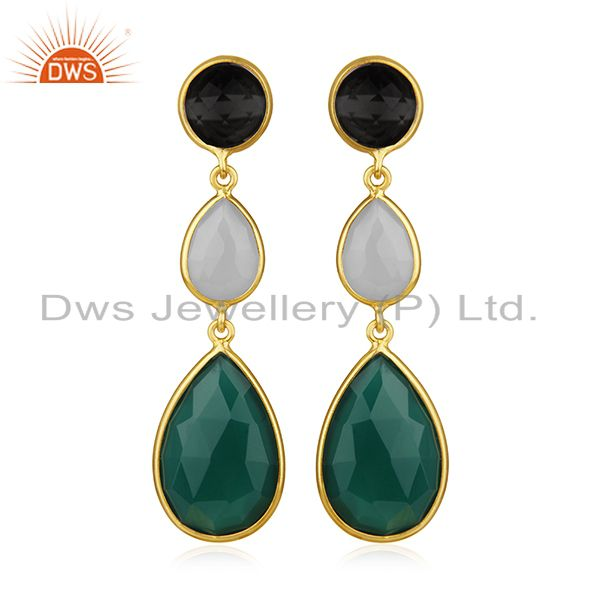 Gold Plated 925 Silver Multi Gemstone Earring Manufacturer of Custom Jewelry