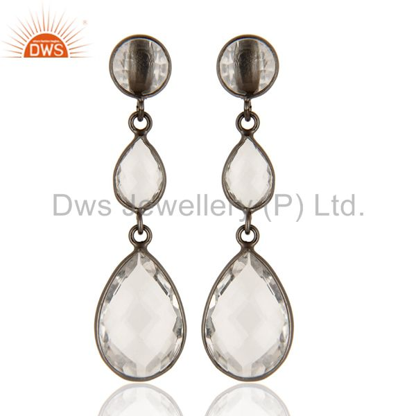 Oxidized Solid Sterling Silver Crystal Quartz Gemstone Bezel Set Dangle Earrings